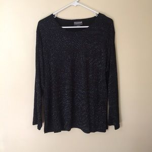 Notations Glittered Black Long Sleeve Blouse XL